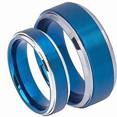 his s 8mm 6mm blue tungsten carbide brushed center