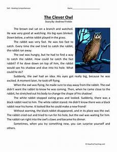 reading comprehension worksheet the clever owl comprehension reading comprehension