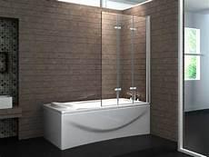 duschwand badewanne glas 3 tlg faltwand mit verchromt