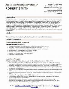 assistant professor resume sles qwikresume