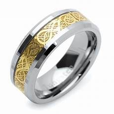 men 9mm comfort tungsten carbide wedding band gold tone celtic dragon inlay ring ebay
