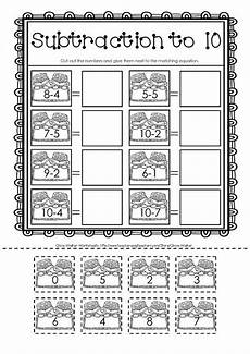 cut and paste subtraction worksheets for kindergarten math
