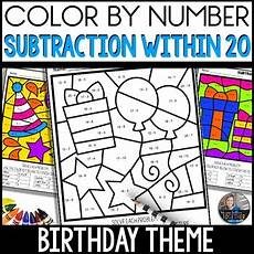 birthday color by number worksheet 16090 color by number birthday worksheets subtraction within 20 tpt