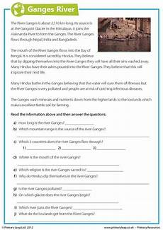 this year 6 geography worksheet includes interesting facts about the ganges river children read