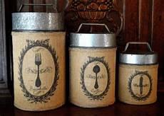 rustic kitchen canister sets vintage rustic burlap canister set of 3 utensils