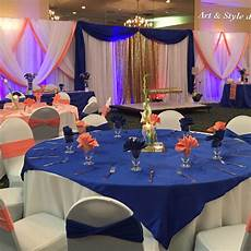 beautiful wedding decor royal blue and coral