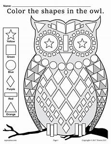 free fall themed owl shapes worksheet coloring page supplyme