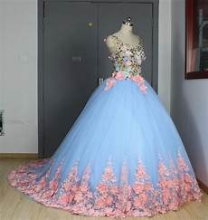 baby blue 3d floral masquerade ball gowns 2017 cathedral train flowers debutante quinceanera