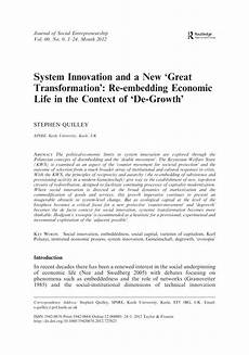 pdf system innovation and a new great transformation re embedding economic life in the