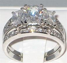 emerald cut cz anniversary bridal engagement wedding ring size 7 ebay