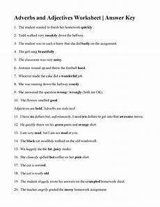 adverbs and adjectives worksheet answers