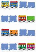 Match The Pictures Of Toy Train Cars With Their Shadows