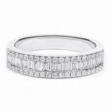 white gold wedding ring with baguettes and baguette diamond wedding ring in 18k white gold