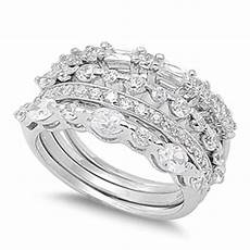 stackable wedding clear cz unique ring 925 sterling