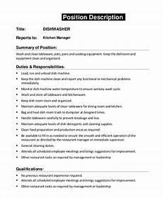 Kitchen Manager Description Pdf by Sle Dishwasher Description 8 Exles In Pdf Word