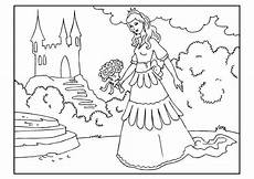 coloring page princess with flowers free printable