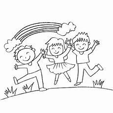 niedlichen kinder mit regenbogen stock vektor und mehr