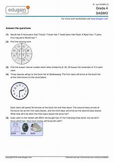 grade 4 sasmo printable worksheets online practice online tests and problems edugain malaysia