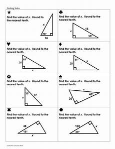 geometry trigonometry worksheets 910 trig ratios sum em activity teaching geometry pythagorean theorem math