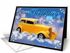 Yellow Classic Car Wishes You A Happy Birthday Card  Cars