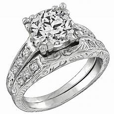 antique diamond platinum engagement ring and wedding band set for sale at 1stdibs