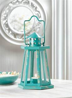 home decorative products teal blue metal lighthouse candle lantern sea