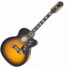 epiphone 12 string guitar epiphone ej 212ce 12 string cutaway electric acoustic vintage sunburst mcquade