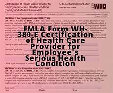fmla form wh 380 e certification of health care provider for employee s serious health condition