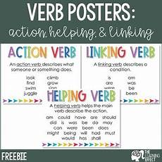 action helping linking verb posters free by the learning effect teachers pay teachers
