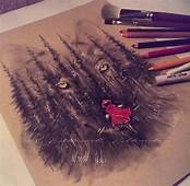 Red Riding Hood & The Big Bad Wolf Drawing  Color Pencil