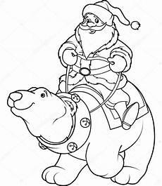 santa claus on polar coloring page stock