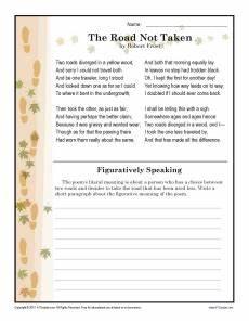 poetry analysis worksheet for the road not taken 25514 the road not taken 7th grade reading comprehension worksheet