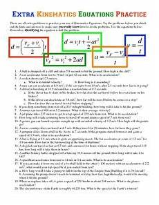 extra kinematics equations practice worksheet for higher
