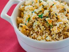 lemon brown rice with garlic and thyme recipe emily