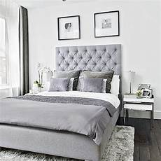 Bedroom Ideas Grey Headboard by Modern Bedroom With Grey Upholstered Bed And Soft