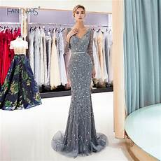 grey mermaid evening dresses long sleeves v neck delicate beaded prom dress 2019 tiered evening