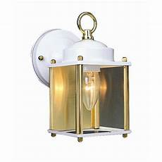 design house coach white polished brass outdoor wall downlight 502666 the home depot