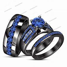 details about blue sapphire black gold fn bridal wedding his her band trio engagement ring set