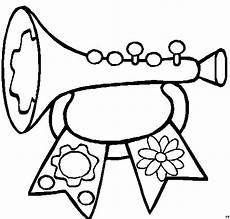 trompete mit blume ausmalbild malvorlage kinder