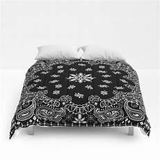 black and white bandana pattern comforters by martaolgaklara society6