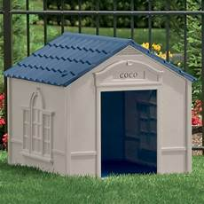 large dog house taupe with blue roof