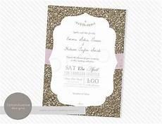 wedding invitation gold glitter wedding diy by