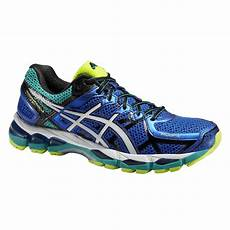 asics mens gel kayano 21 running shoes blue white