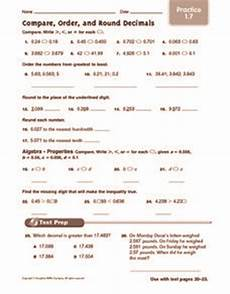 comparing and ordering decimals worksheets grade 5 7378 compare order and decimals practice 5th 6th grade worksheet lesson planet