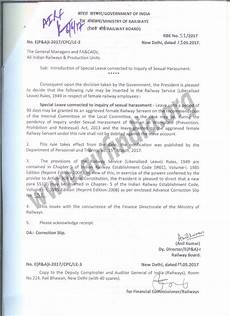introduction of special leave connected to inquiry of sexual harassment rbe 51 2017 nrmu