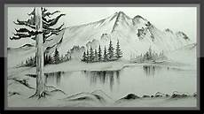easy pencil drawing mountain landscape scenery step by step youtube