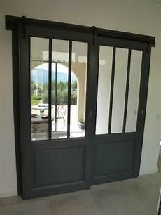 portes coulissantes vitr 233 e style atelier avec rail m 233 tal