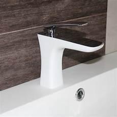 Robinet Mitigeur Design Pour Lavabo Et Vasque Chrom 233 Blanc