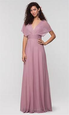 flutter sleeve kleinfeld long bridesmaid dress