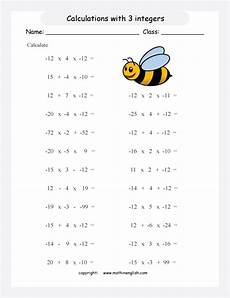 operations with 3 integers printable grade 6 math worksheet